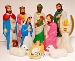 Vintage 11 piece Empire Nativity Mini Blow Mold Christmas Set Jesus Mary Joseph