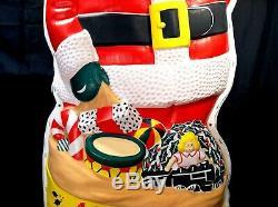 Vintage 1950s 60s Blow Mold Lighted Waving Santa Beco LA Goodman VERY NICE