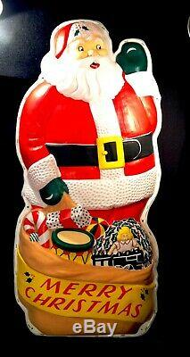 Vintage 1959 Noma Lighted Santa Claus Blow Mold 4 Ft x 2 Ft NICE LOOK & READ