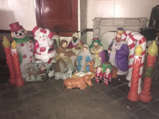 Vintage 21 Piece Blow Mold Christmas Nativity Manger Scene Santa Snowman Candles