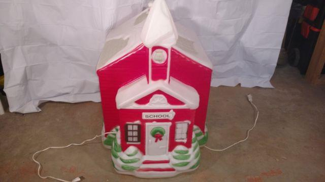 Vintage 23 Tall Rare Empire School House Blow Mold Christmas Decoration