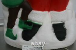 Vintage 31 TPI 3-D PLASTIC BLOW MOLD Santa with elves Lighted Christmas Decor