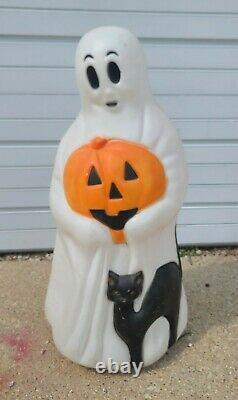 Vintage 33 Halloween Empire Blow Mold Ghost with Pumpkin Black Cat Jack O Lantern