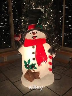 Vintage 39 Christmas TPI Snowman wth Cardinal Lighted Blow Mold Yard Decoration