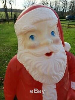 Vintage 5 Foot Santa Claus General Foam Plastic Blow Mold Light Up Decoration