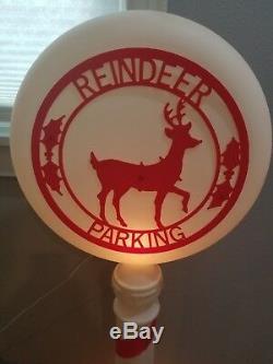 Vintage 54 Reindeer Parking Sign Christmas Lighted Blow Mold Yard Decor HTF