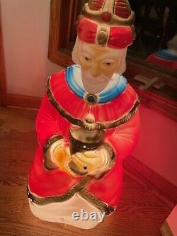 Vintage 7 Piece Set Empire Tpi Blow Mold Nativity Set Lighted Christmas Plastic