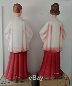 Vintage BECO Choir Boy & Girl Outdoor Lighted Christmas Blow Mold Lawn Ornaments