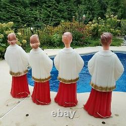 Vintage Beco 2 Girls & 2 Boys Christmas Carolers 40 tall Blow Molds 1960's