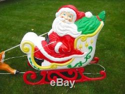 Vintage Blow Mold Santa Claus Sleigh & Reindeer Christmas Grand Venture with Box