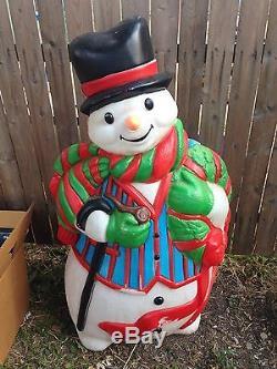 Vintage Blow Mold Snowman Santa's Best