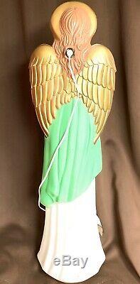 Vintage Blowmold 34 Rare Green Angel Christmas Light Up