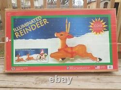 Vintage CIB General Foam Santa Sleigh Reindeer Christmas Blow Mold Light + Box