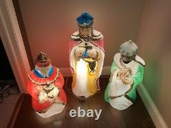 Vintage Carolina Empire Blow Molds 3 Wise Men Kings Lighted Nativity Christmas