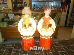 Vintage Christmas Poloron Choir / Caroler Blond Girl & Boy Blow Mold Set 49