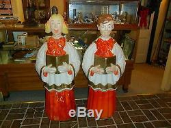 Vintage Christmas Poloron Choir / Caroler Blond Girl & Boy Blow Mold Set 49