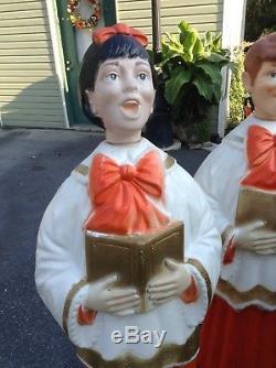 Vintage Christmas Poloron Choir / Caroler Girl & Boy Blow Mold Set 49