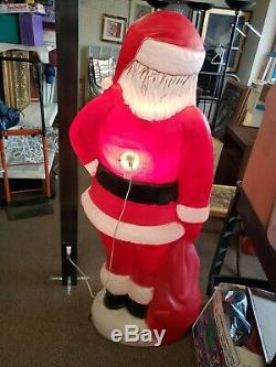 Vintage Christmas Santa Claus Package Lighted Blow Mold 5 foot (58)tall large