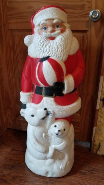 Vintage Christmas Tpi 37 Santa With Polar Bear Seal Blow Mold Yard Decor Htf