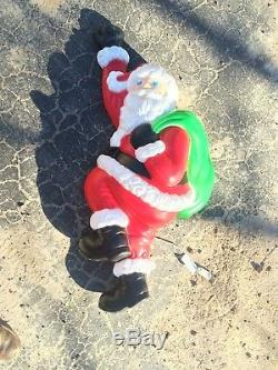 Vintage Climbing Santa 37 Inches Blow Mold Holiday Christmas Yard Decor