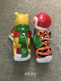 Vintage Disney Santas Best Tigger Caroling Blow Mold Winnie the Pooh lot of 2