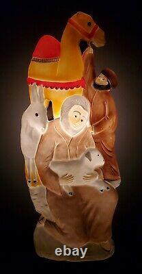 Vintage Don Featherstone Lighted Nativity Camel Donkey Shepard Blow Mold