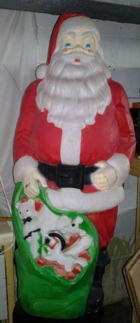 Vintage Empire Christmas Santa Claus Toy Bag Sack Gift Plastic Blowmold Light Up