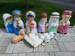 Vintage Empire 10 Pc Nativity Light Up Blow Mold Set Mini Small Baby Set 1996