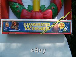 Vintage Empire 18 Blow Mold Illuminated Christmas Wreath 1692 in Box USA EUC