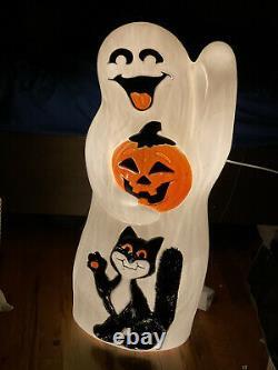 Vintage Empire 34 Halloween Blow Mold Ghost Jack-o-Lantern Pumpkin & Black Cat