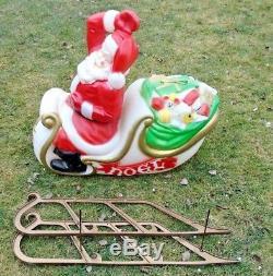 Vintage Empire Blow Mold Christmas Santa Sleigh Sled Light Up Yard Decor