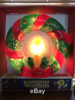 Vintage Empire Christmas Lighted Blow Mold Wreath with Red Bow Yard Decoration