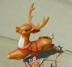 Vintage Empire Christmas Santa Sleigh Reindeer Blow Mold Decor Yard Decor