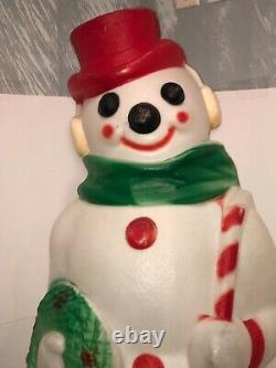 Vintage Empire Lighted Christmas Snowman Wreath/Candy Cane Blow Mold 46 Tall