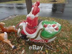 Vintage Empire Santa Claus Sleigh 5 Reindeer Christmas Blow Mold Yard Decoration