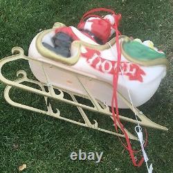 Vintage Empire Santa Claus Sleigh Blowmold Reindeer (only Displayed Inside)