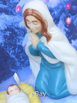 Vintage General Foam 4pc Nativity Lighted Blow Mold Set Mary Joseph & Baby Jesus