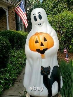 Vintage Ghost Black Cat Pumpkin Blow Mold Halloween Empire Plastic Lighted 34
