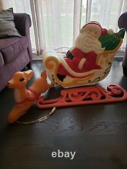 Vintage Grand Venture Santa Claus Sleigh 1 Reindeer Christmas Blow Mold Light