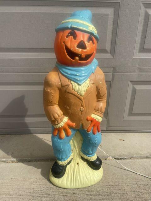Vintage Halloween Empire Blow Mold 34 Pumpkin Head Scarecrow Tested & Working