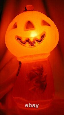 Vintage Halloween Jack-O-Lantern Blow Mold with Witch on Haystack Rare