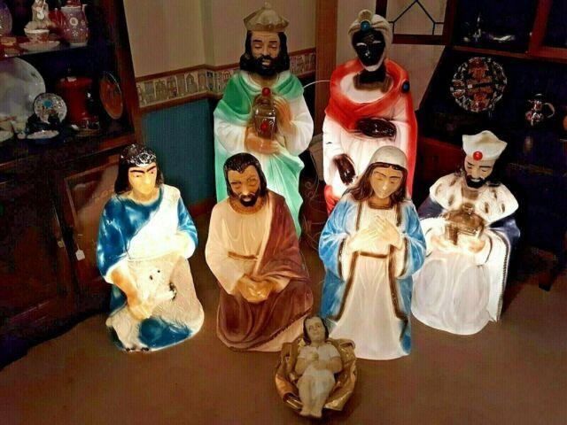 Vintage Lighted Empire Nativity Blow Mold 7 Piece Set
