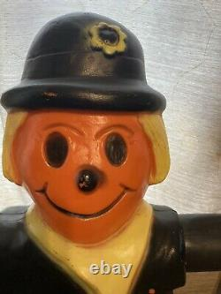 Vintage Orange Standing Scarecrow with Scarf Lighted Halloween Blow Mold 35 RARE