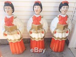 Vintage POLORON Christmas Blow Mold Choir Caroler GIRLS