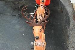 Vintage Poloron Blow Mold 36 Large Illuminated Reindeer (x2) for Santa Sleigh