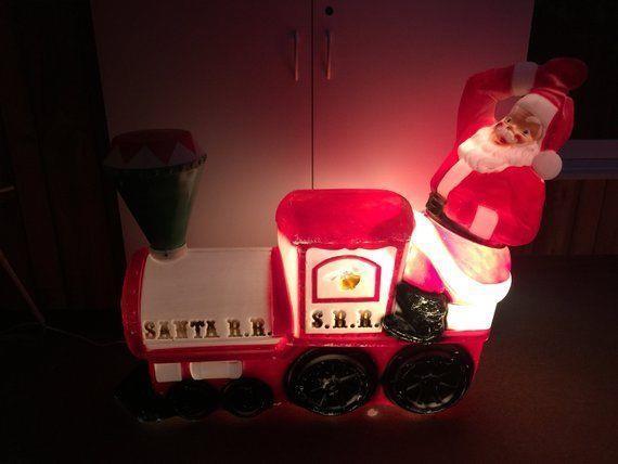 Vintage Rare Empire Plastic Santa Rr Train Christmas Large Blow Mold Nice