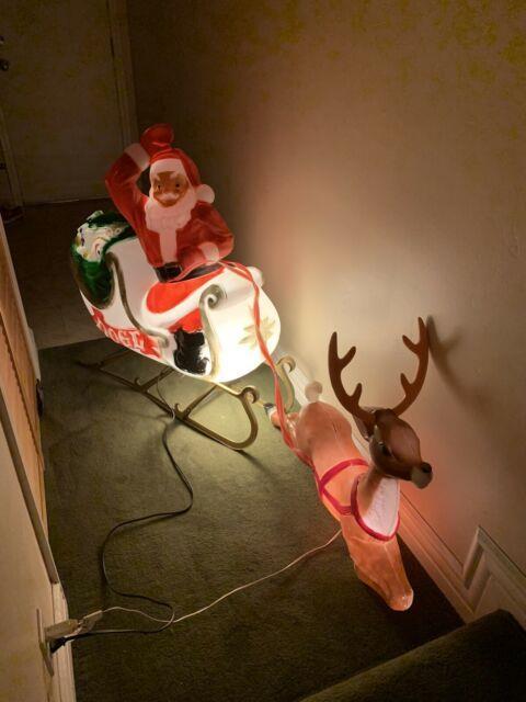 Vintage Santa Sleigh Reindeer Christmas Blowmold General Foam Lighted Yard