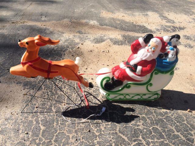 Vintage Santa Reindeer Sleigh 22 Inches Blow Mold Holiday Christmas Yard Decor