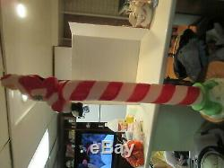 Vintage Santa's Best Blow Mold Candy Cane with Santa on Top RARE FIND 49 Tall