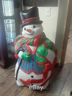 Vintage Santa's Best Christmas Blow Mold 43 Tuxedo Snowman Light Up Yard Decor
